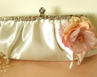 OOAK Romantic flower bridal clutch vintage style ivory
