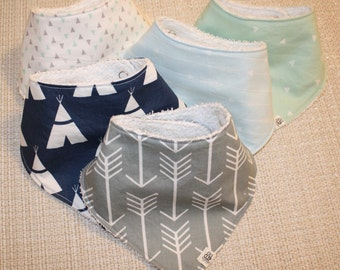 Arrows and Teepees Baby Bandana Bib with Adjustable Snaps (Set of 3)