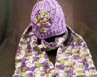 Crochet hat/beanie with matching scarf.