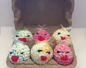 6 Crocheted Easter Egg Chicks
