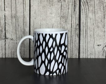 Black and White Mug, Black and White Abstract Art, Designer Mug, Monochrome Mug, Black and White Decor, Web Mug, Art Mug