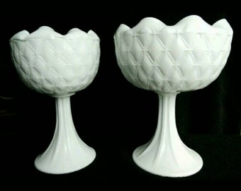 Vintage Indiana Glass Company - Duette Quilted Diamond Compotes, Vases, Planters - Set of 2