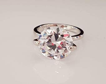 5ct sterling silver 925 sterling silver solitaire ring engagement