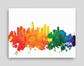 Los Angeles Skyline Canvas Print - Los Angeles California - Cityscape, Home Decor, Office Decor