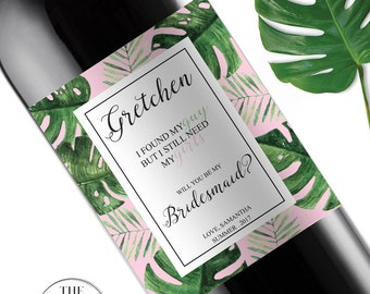 Palm Leaf Will You Be My Bridesmaid Wine Labels, Bridesmaid Box, Maid of Honor Gift, Tropical Wedding Decorations, Palm Springs,