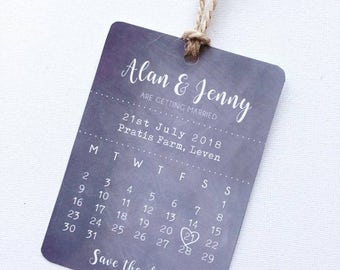 Chalk board rustic save the date wedding invitations wedding stationery