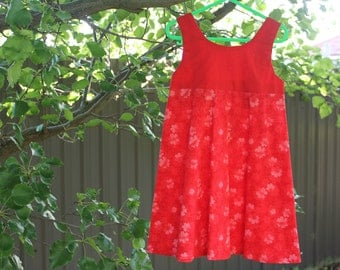 Girls Dress - Bright Red Flower, Size 3-4