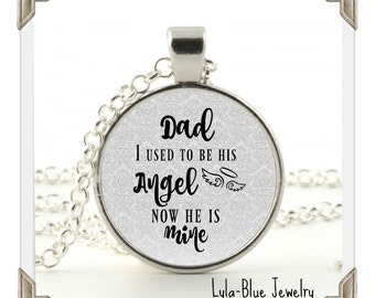 MEMORIAL CHARM, DAD I used to be his angel now he is mine, in memory, loss  of Dad, Memorial Jewelry