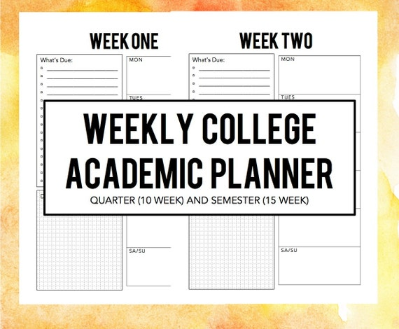 Simple Weekly Academic Planner a5 size