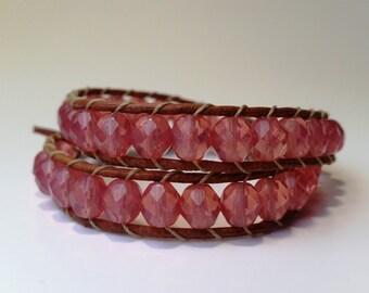 Pink crystal bracelet, leather wrap bracelet, women's bracelet, pink wrap bracelet, czech glass bracelet, pink beaded bracelet