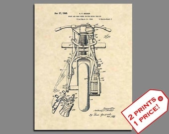 Indian Motorcycle - 1948 Indian Motorcycle Patent - Indian Motorcycle Poster - Motorcycle Print - Motorcycle Wall Art - Patent Prints -146