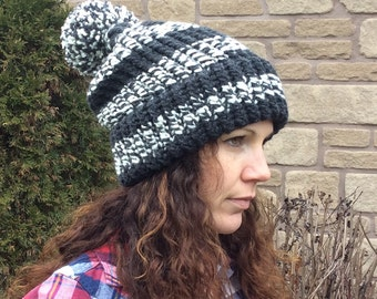 Slouch Hat Charcoal with White