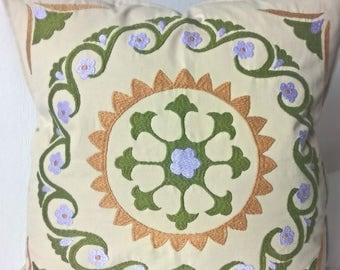 Beige and Green embroidered pillow cover Decorative pillow Accent pillow Suzani pillow case Green embroidery Central Asian Tajik