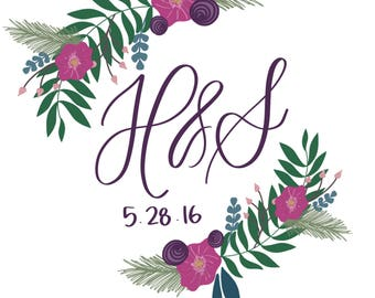 Floral wedding monogram - digital file