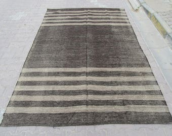 6.3x9.4 Ft Vintage silver gray/Black decorative Turkish kilim rug