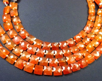 """AAA Grade Carnelian Faceted Square shape Briolette Beads, Size 7-8 mm, 8"""" Strand Length, Super Quality gems for Jewellery"""