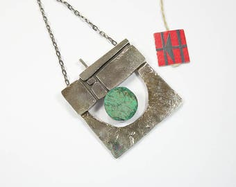 German Brutalist silver pendant with mounted chryroprase