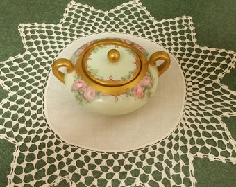 Vintage Limoges La Seynie PP France Sugar Bowl