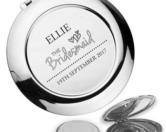 Personalised engraved BRIDESMAID compact mirror wedding thank you gift idea, handbag mirror - RM1