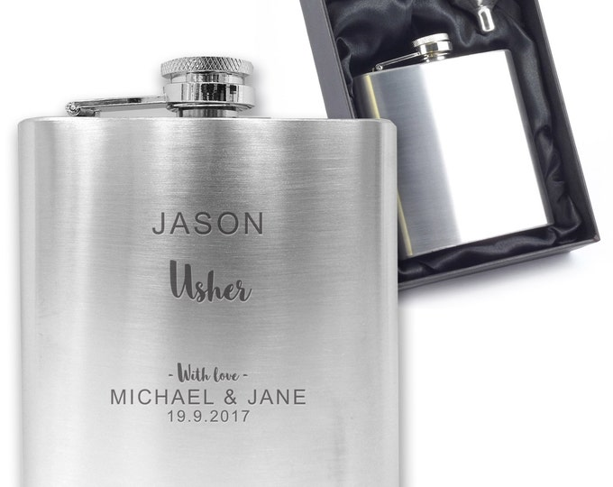 Personalised engraved USHER hip flask wedding thank you gift idea, stainless steel presentation box - SO1