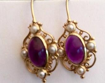 9ct Art Nouveau Amethyst & Pearl Earrings