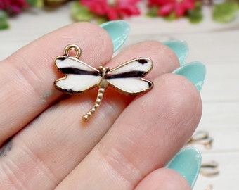 10 Small White Dragonfly Charms - Dragonfly Charms- Gold Plated