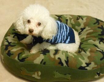 Camouflage Handmade Fleece Dog Bed-hunter camo Dog Bed-Cushy Dog Bed-Washable Dog Bed-Military Camo Dog-Fleece Dog Bed-Cozy Fleece Dog Bed