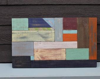 Wood Color Blocked Wall Art