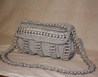 purse,night purse,pop tabs bag,handmade purse, grey, shoulderbag