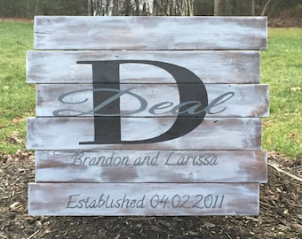 Rustic Monogrammed Family Sign