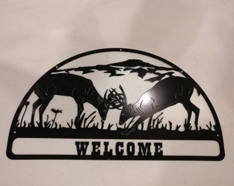 Welcome Sign - Deer and Mountains