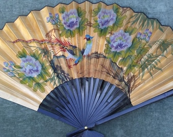 LARGE Asian Wall Fan Hand Painted