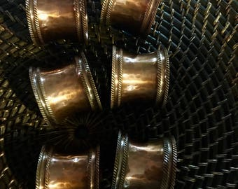 6 Antique Hammered Copper finish Napkin rings