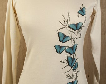 Womens Organic Cotton TShirt Long Sleeve Scoop Neck Australian Blue Mountain Butterflies 1x1Rib Blue Butterfly S M L XL 2X Direct to Garment