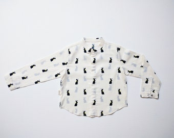 White Cotton Shirt with Navy Blue Rabbit Print, 1 - 2 years old