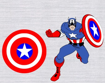 Captain America SVG bundle, Captain America clipart, superhero svg, svg files for silhouette cameo, cricut explore, files for boys, cutfile
