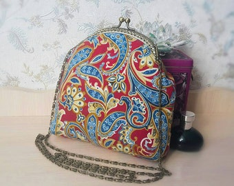 kiss lock purse bag, clutches, evening clutch, bridal bag, wedding purse, evening bag, metal frame purse, paisley, bags online, gift for her