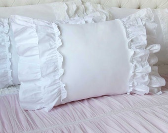 Shabby Chic Body Pillow Cover : Items similar to Light Yellow Cream Ruffle Cotton Eyelet Lace Pillow Sham on Etsy