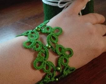 Tatting lace cuff Band bracelet. tatting with beads