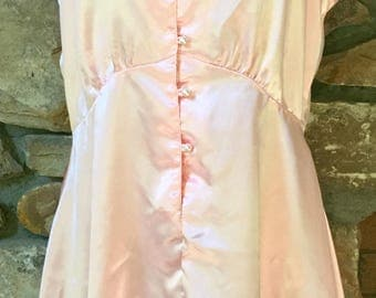 Vintage Babydoll Nightgown Pink Satin Fitted Gown NOS Vintage Lingerie Bridal Shower Wedding Gift