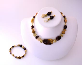 Mookaite Necklace, Bracelet, and Earrings Set