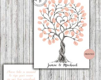 50 Fingerprint Tree Custom Personalized Sign Poster A4 A3 Rustic Vintage Modern