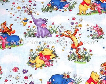 wn032 - 1 Yard Cotton Woven Fabric - Cartoon Characters, Winnie the Pooh and Friends, Spring Flowers, Elephant - Blue (W105)