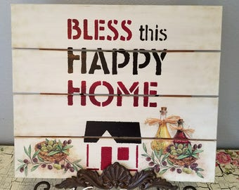 "Wooden Sign Pallet Board ""Bless This Happy Home"",  Decoupage Sign Board Wall Art,   Special Gift"