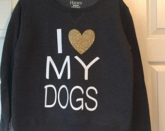 Personalized I <3 My Dogs Sweatshirt