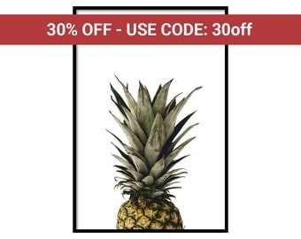 Pineapple Poster - Free Shipping - Pineapple Decor - Pineapple Print - Home Decor 2017 - Poster Frame 24x36 - Pineapple Decal