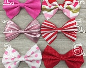 Pick One, Fabric Girls hair bow, Pink Sparkle Glitter Bow, Chevron Print Bow, Polka dot Hair bow, Pinstripe Bow