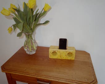 Natural stereo speaker wooden stained yellow turmeric for smartphone