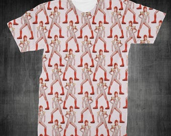 """T-Shirt - """"David Bowie"""" Women - Men - Full Front Polyester Tee Sleeve - FAST SHIPPING"""