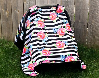 Baby Girl Car Seat Canopy, baby shower, car seat cover for girls, Infant car seat cover, floral car seat cover, girls car seat cover,